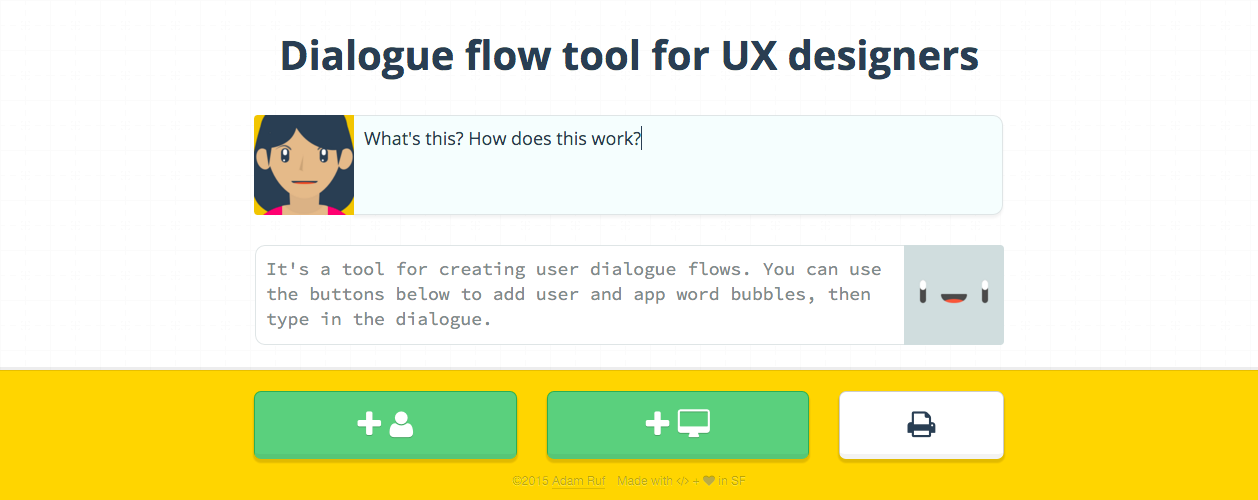 Adam Ruf's fun and easy tool for creating user dialogue flows