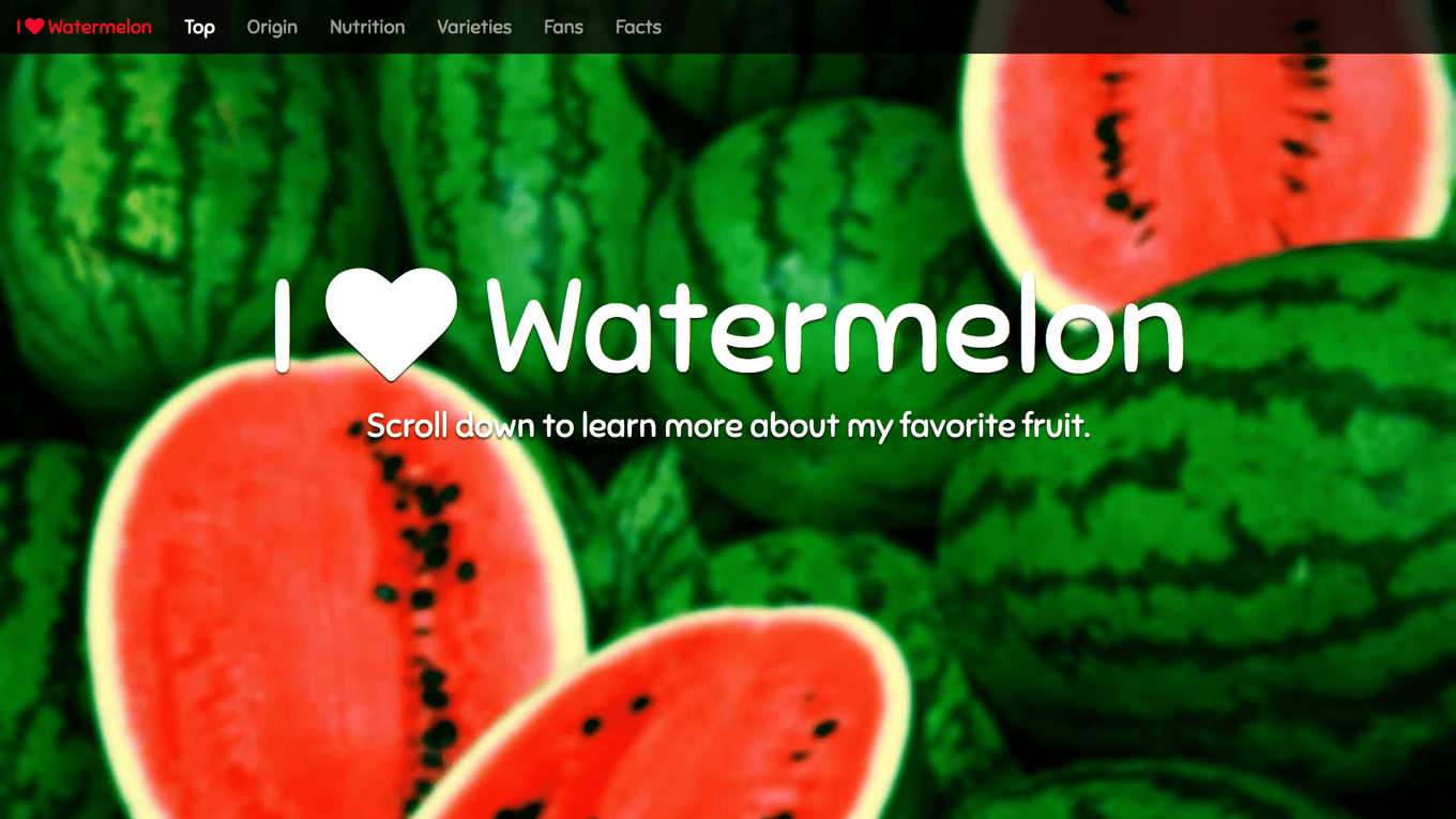 My example Favorite Fruit assignment from the Web Design 2 class I taught at Academy of Art University in spring 2014.