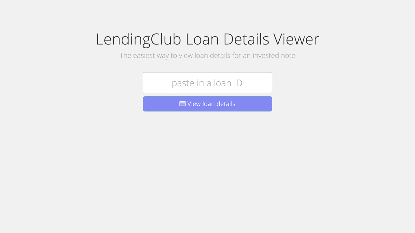 LendingClub Loan Details Viewer