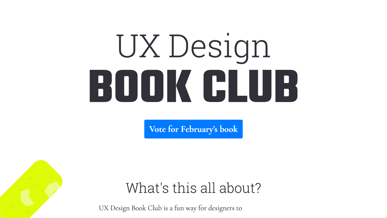 Screenshot of the UX Design Book Club website